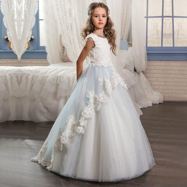 0a55792efe Długie Pageant Sukienki Dla Dziewczynek Glitz Koronki Pociąg Piękna Suknia  Balowa Puffy Dzieci Sukienka Dzieci Graduation