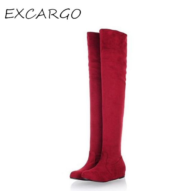 New Sexy Boots Leopard Female Boots Flat Heel Suede Women Over The Knee Boots Increased Plus Size 43 Botas Femininas 2017