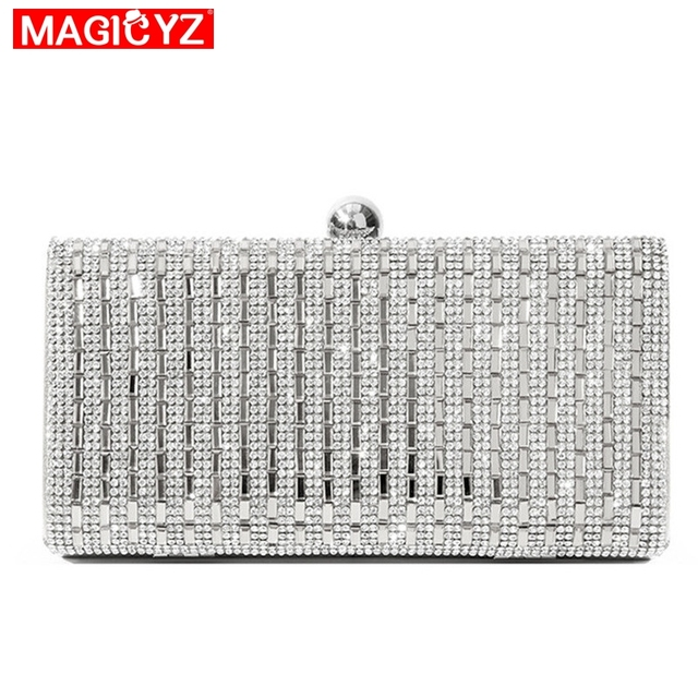 MAGICYZ Women Evening Bag Black/Silver Wedding Party Bags Diamond Rhinestone Clutches Crystal Bling Gold Clutch  Bags Purses