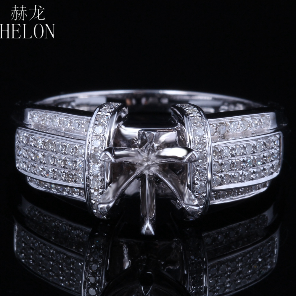 Jewelry & Watches 14k White Gold 7mm Round Semi-mount Engagement Wedding Diamond Jewelry Fine Ring Diamond