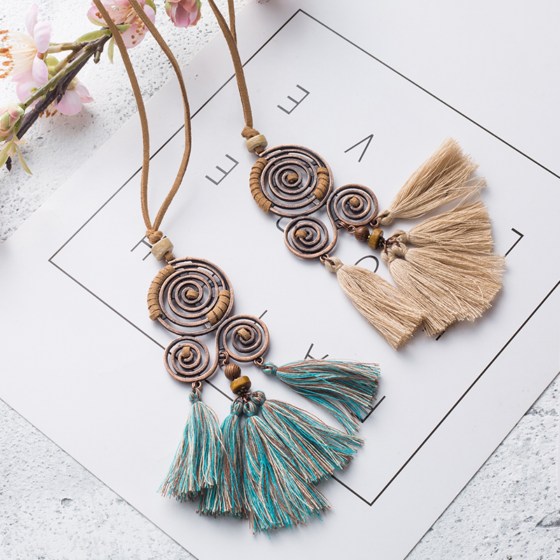 Women Charm Vintage Bohemian Ethnic Tassel Pendant Necklace Choker Long Leather Sweater Rope Chain Clothing Jewelry Accessories