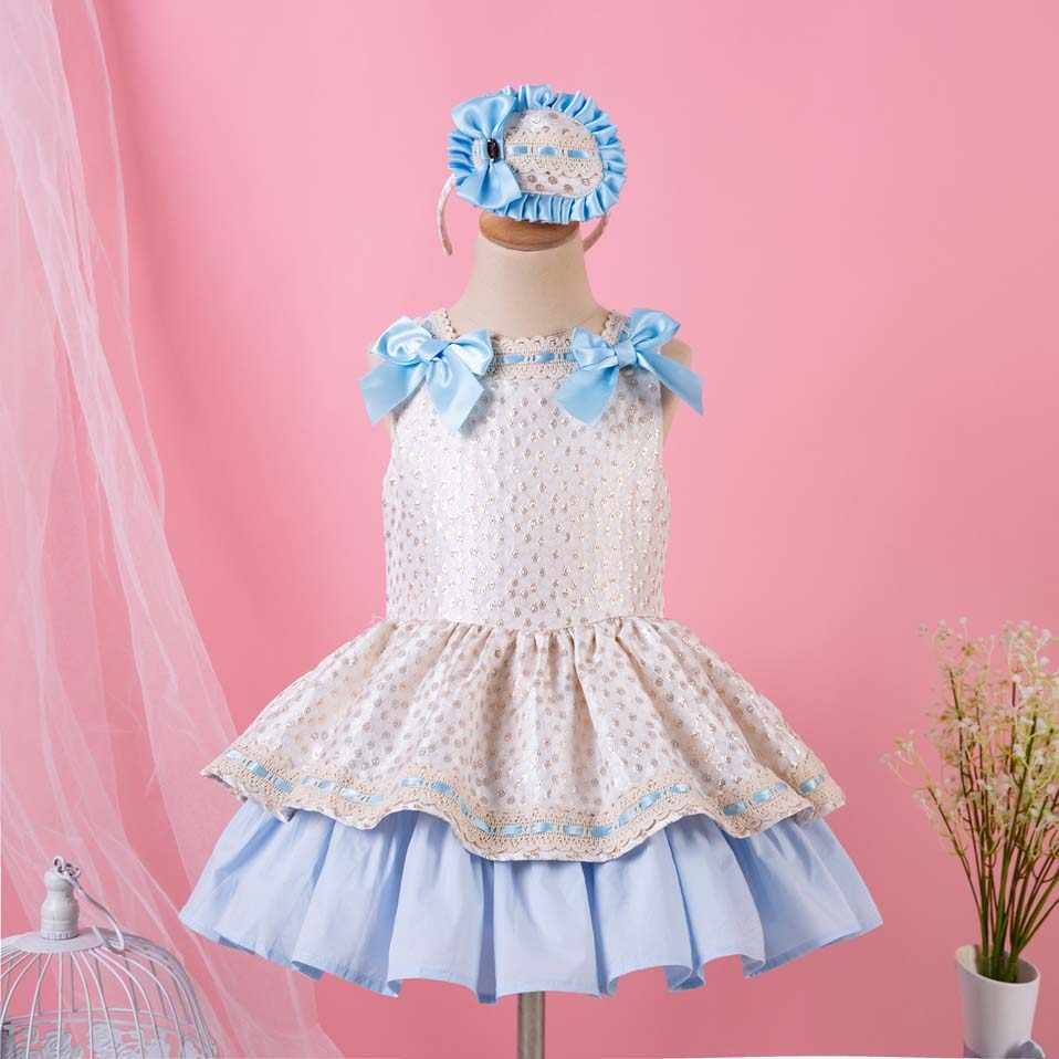 Pettigirl Dot Princess Baby Dress For Girl With Headwear Party Princess Girl  Vestidos Baby Kid Clothes 5120576bb3c7