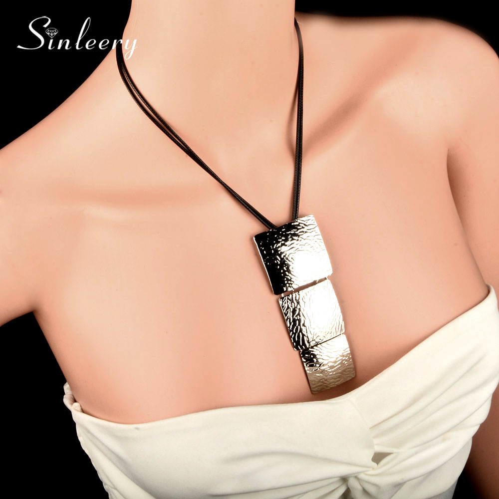 SINLEERY 2018 Kedatangan Baru Big Square Long Pendant Kalung Black - Perhiasan fashion - Foto 1