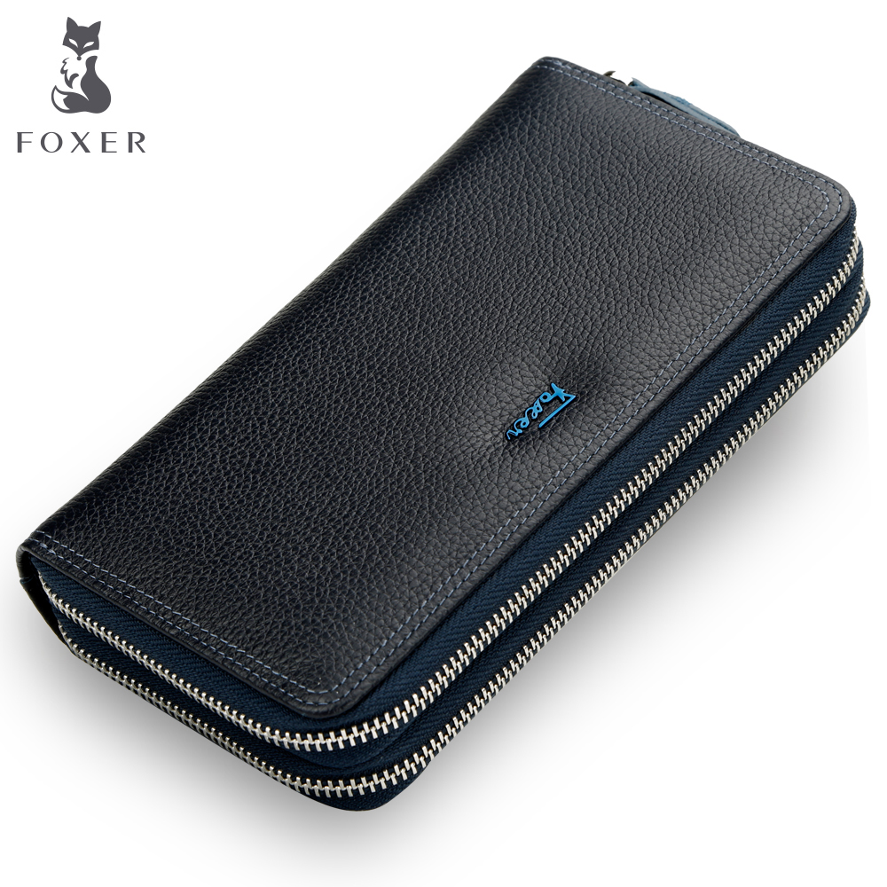 FOXER Brand Men Genuine Leather Wallets Coin Purse For Men's Double Zipper Male Purses Fashion Phone Man's Clutch Bag top brand genuine leather wallets for men women large capacity zipper clutch purses cell phone passport card holders notecase