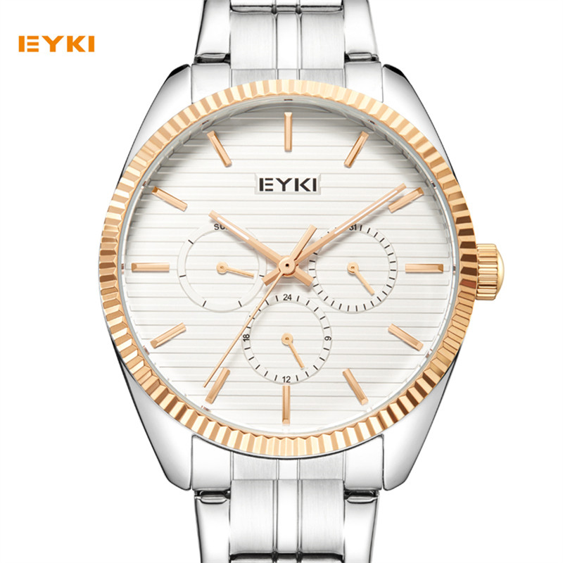relogio masculino EYKI Mens Watches Top Brand Luxury Fashion Business Quartz Watch Men Sport Full Steel Wristwatch Men Clock migeer relogio masculino luxury business wrist watches men top brand roman numerals stainless steel quartz watch mens clock zer