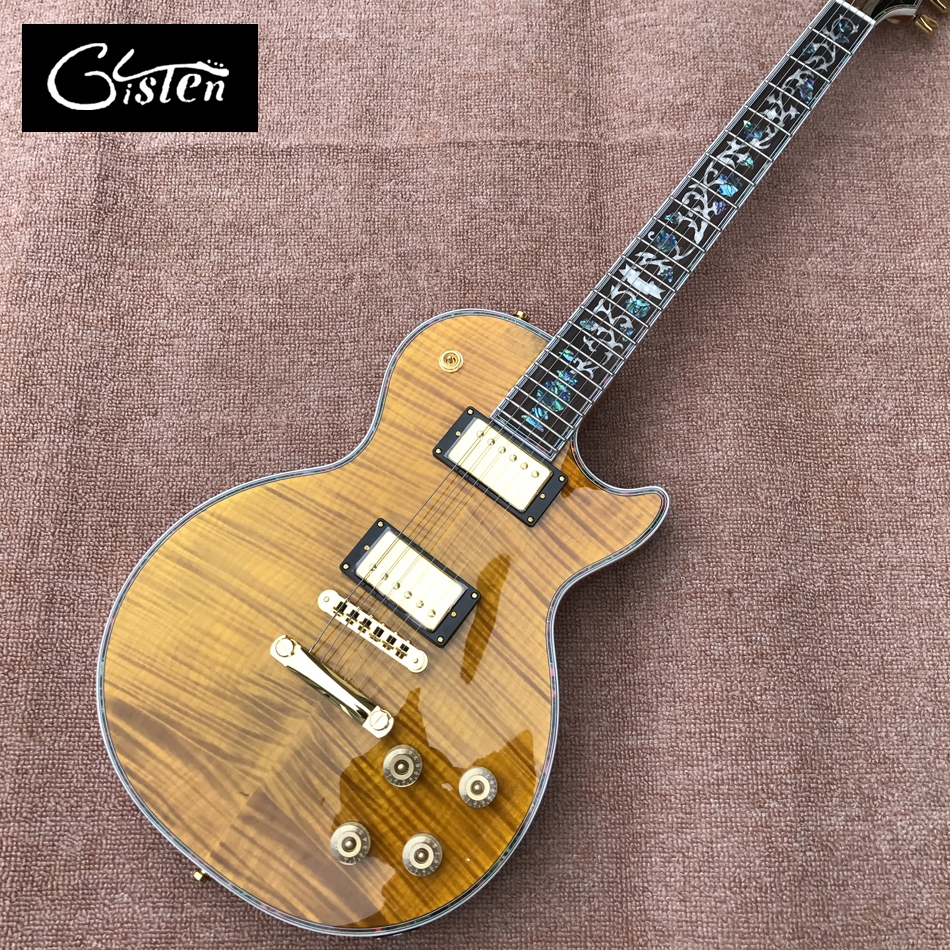 New Custom LP electric guitar, Abalone Flower inlaid fingerboard & Abalone binding, LP electric guitar , Free shipping brand new angus young sunburst sg electric guitar brown custom free shipping chrome hardwares