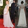 Moda de Lujo Elegante Escote Alto Prom Vestidos Rebordear Cristalino Largo de Gasa Recta Vestidos de Noche Para Las Mujeres Embarazadas