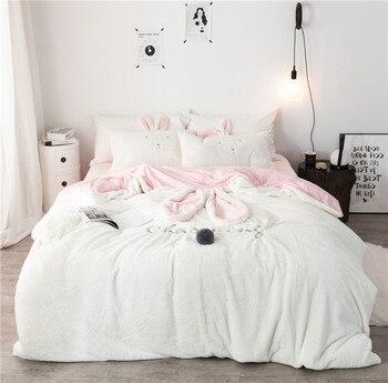 Pink White grey Fleece Fabric Winter Thick Pure Color Bedding Set Mink Velvet Duvet Cover Bed sheet Bed Linen Pillowcases 4pcs.