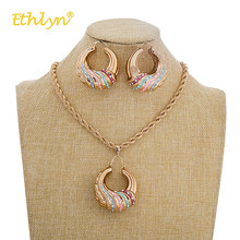 Ethlyn Retro Female Jewellery Sets Colorful Round Crystal Pendant Necklace Earrings Jewelry Set for Women Wedding Bridal Jewelry(China)