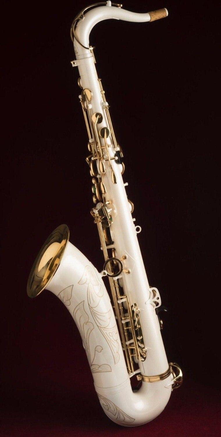Saxofón Tenor de alta calidad Tenor B Tune instrumentos de saxofón de pintura blanca saxofón de latón con caja de regalo saxo gratis