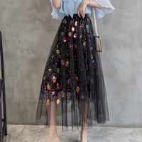 Spring Summer Sequined Maxi Long Skirts Women Dotted Colorful Sequins Pleated Metallic A line Long Skirts Black Pink
