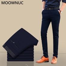 Trousers Pants Slim Fit Groomsman Suit Male Casual Business Longs Fashion Wedding Brand MOOWNUC Elastic