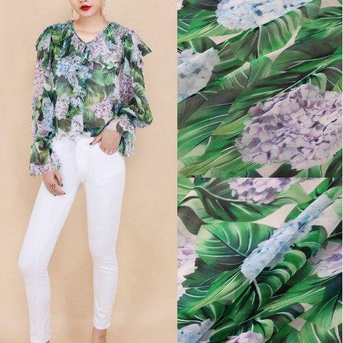 100X145cm Fashion Week The Hydrangea Green Leaves Thin 100% Silk Georgette Chiffon Fabric for Woman Girl Dresses Shirt DIY AF223