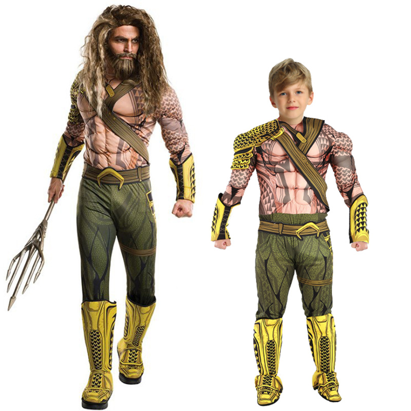 Aquaman Costumes Boys Muscle Costumes Kids Cosplay Verkleedkleding Kinderen Superhero Halloween Christmas Dress-up Streetwear