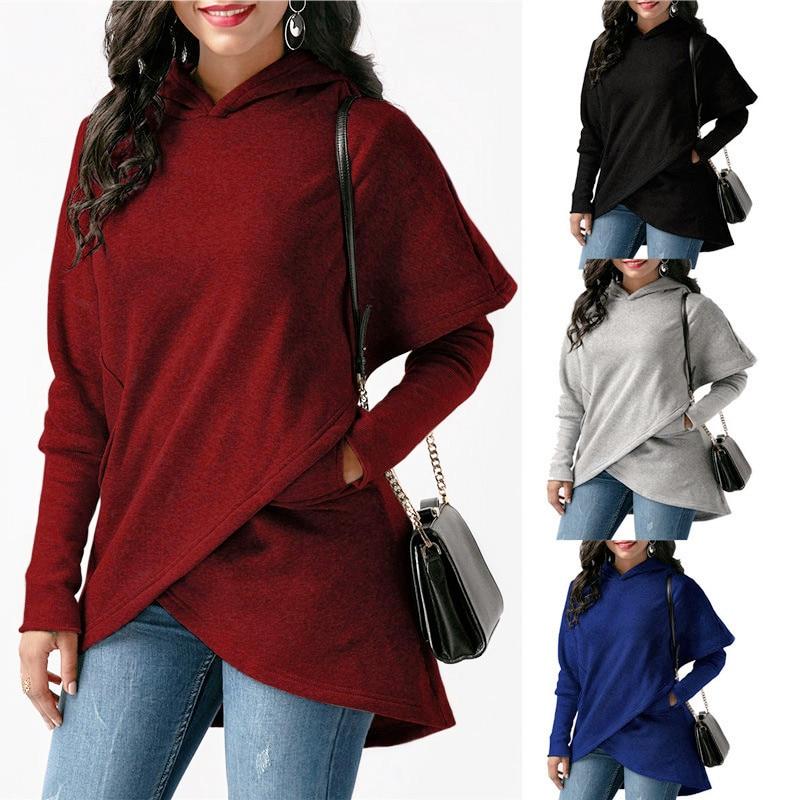 Carol Diaries Women Winter Warm 2XL Hoodies sweatshit Coat Female Autumn Black Long Sleeve Pocket wool Pullover Outerwear