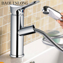 BAOLINLONG Styling Brass Deck Mount Bathroom Basin Faucet Vanity Vessel Sinks Mixer Tap Pull Out