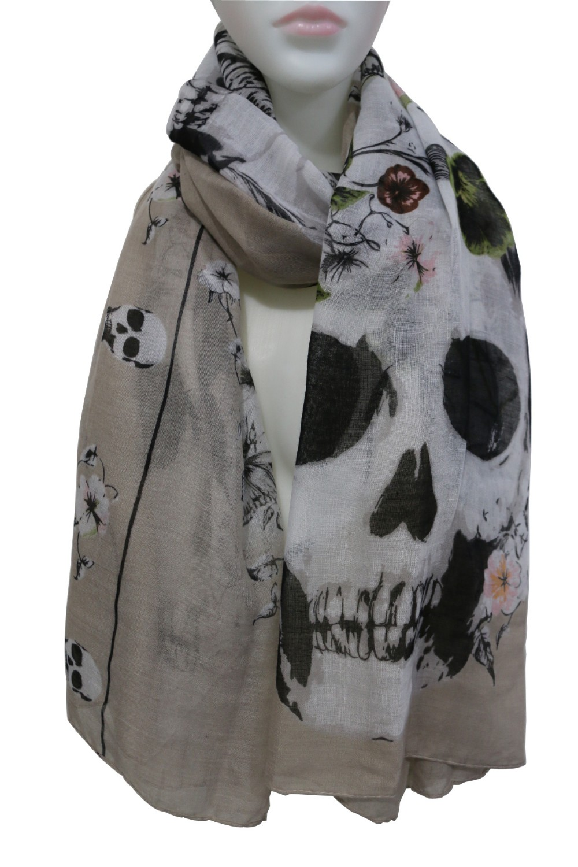 WINFOX 2017 New Fashionable Punk Ladies White Black Skull Floral Print Long Scarves Shawls Wrap Womens