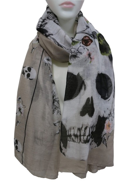 White and Black Skull Floral Print Long Scarf