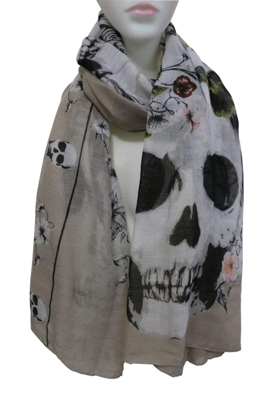 WINFOX 2019 New Fashionable Punk Ladies White Black Skull Floral Print Long   Scarves   Shawls   Wrap   Womens