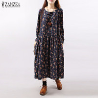 Dresses 2016 Autumn ZANZEA Women Vintage Floral Print Dress Long Sleeve O Neck Pockets Loose Casual