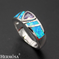 Hermosa Jewelry New exclusive design natural blue Opal triangle Amethyst925 Sterling Silver Beauty Ring Size 7#8# R1033
