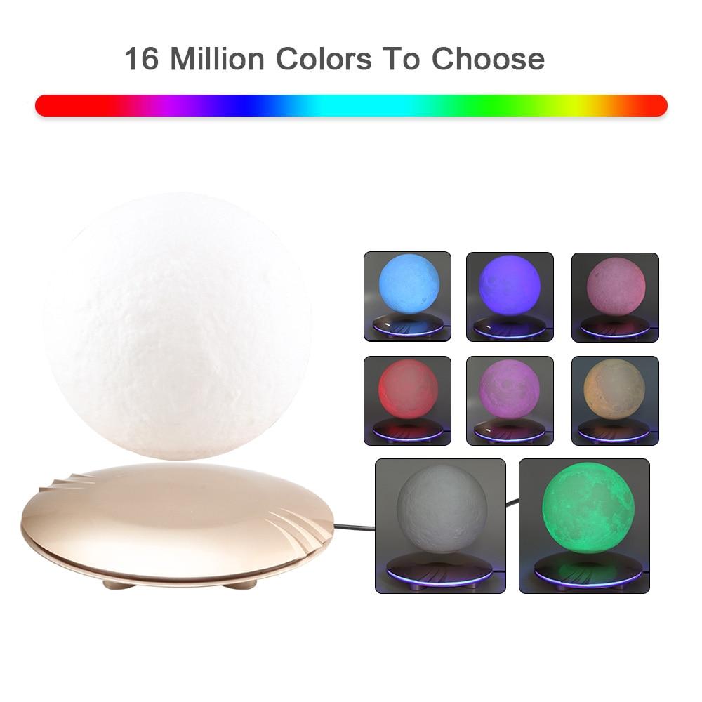 Lámpara de Luna impresa en 3D levitando 7 colores que cambian la luz LED de la noche para la decoración de Navidad del hogar Envío Directo #