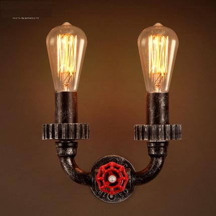Loft Style Antique Water Pipe Lamp Industrial Vintage Wall Light Fixtures For Home Bedside Edison Wall Sconce Indoor Lighting nordic loft style industrial water pipe lamp vintage wall light for home antique bedside edison wall sconce indoor lighting