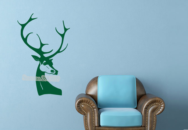 Awesome Hot Vinilos Paredes Deer Wall Sticker A Majestic Deer Head Animal Series  Decal Waterproof Vinyl Wall