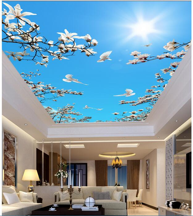 3d ceiling murals wallpaper custom photo non-woven Flowers dove in the sky painting 3d wall mural wallpaper for living room ceiling non woven wallpapr home decoration wallpapers for living room 3d mural wallpaper ceiling customize size