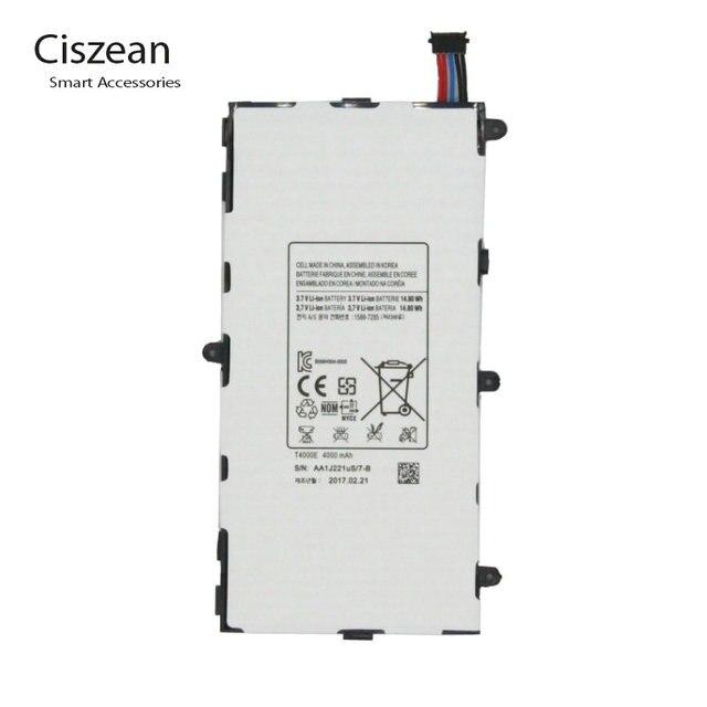 1x4000 mAh T4000E החלפת סוללה עבור Samsung Galaxy Tab Tablet 3 7.0 T211 T210 T215 T210R T217A SM-T210R t2105 P3210 P3200