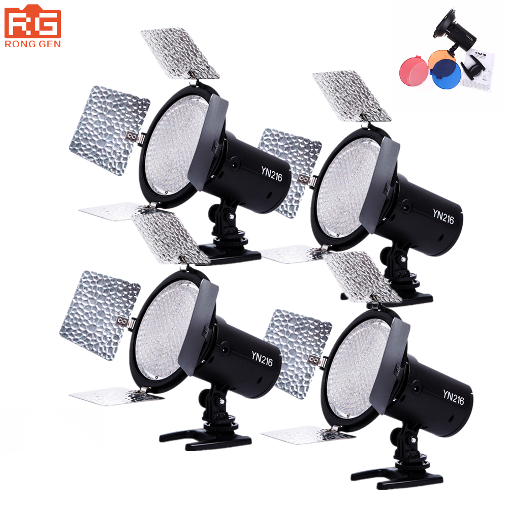 4PCS YONGNUO YN216 YN-216LED lamp studio video light photography light color temperature for Canon Nikon Sony Camcorder DSLR 1 4 lcd 6 led white light video lamp for camera camcorder 4 x aa