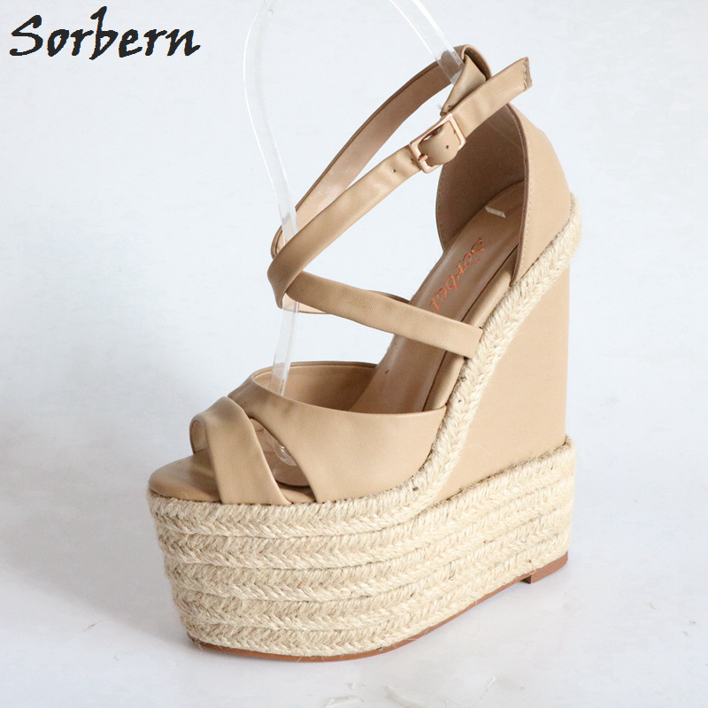 Sorbern Khaki Women Sandals Rope High Heels Platform Shoes Summer Style Ladies Work Shoes Wedges Sandals Ankle Strap Heels sgesvier european style ankle strap women summer shoes wedges high heels sandals platform causel shoes plus size 34 43 vv431