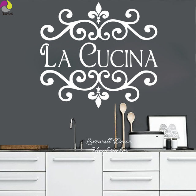 Online Shop La Cucina Kitchen Wall Sticker Italian Kitchen Quote ...