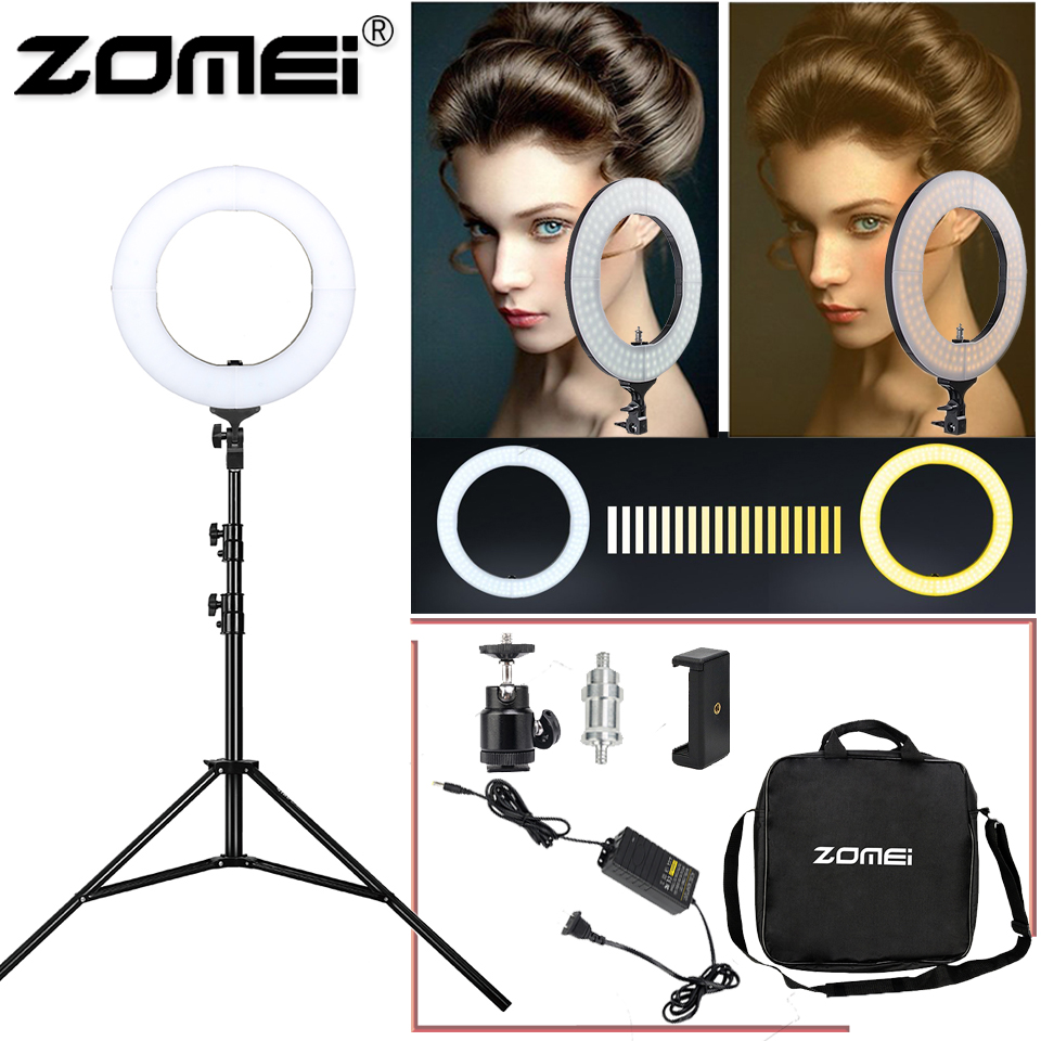 Zomei 14 Dimmable Photography LED Ringlight Selfie Tripod Photographic 3200 5600K camera photo video makeup for