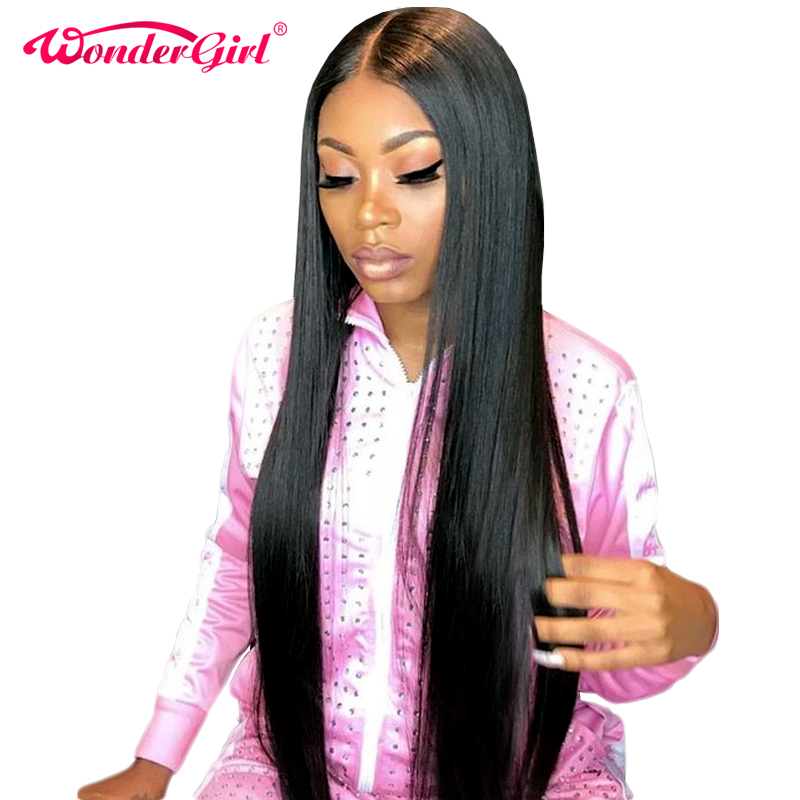 Wonder Girl Glueless Lace Front Human Hair Parykker For Women Black Pre Plukket Brazilian Straight Lace Paryk Med Baby Hair Non Remy