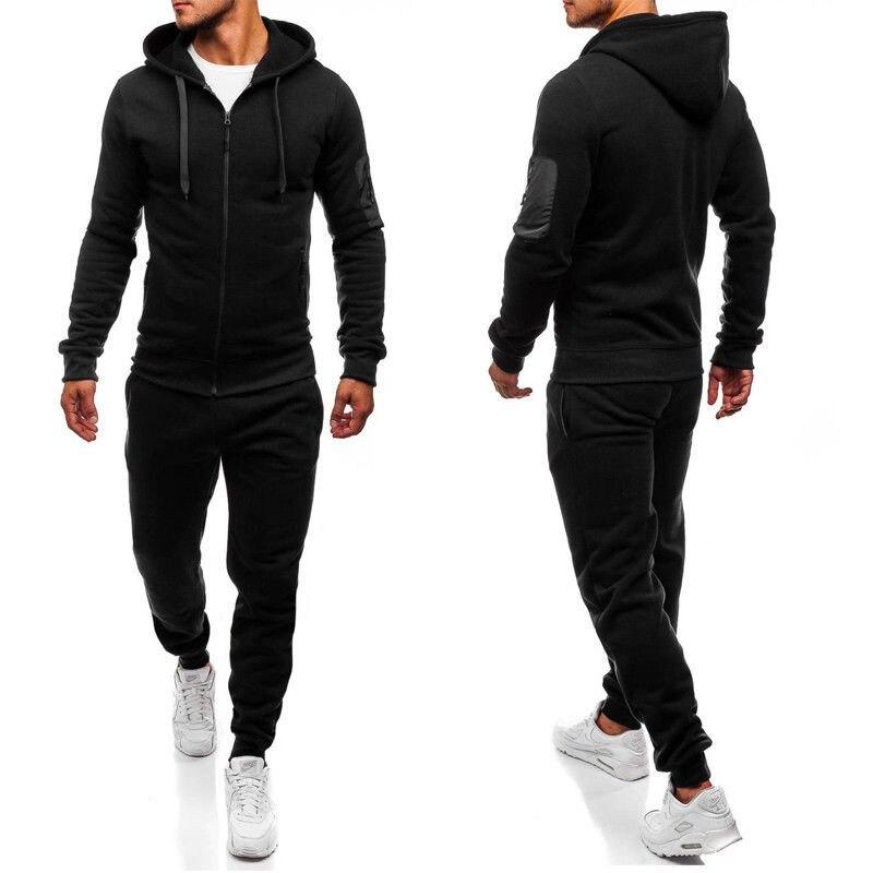 Autumn Men Fashion Mens Set Zipper Hooded Sweatshirt+Pant  2PCS Tracksuit Sets Plus Size M-2XL