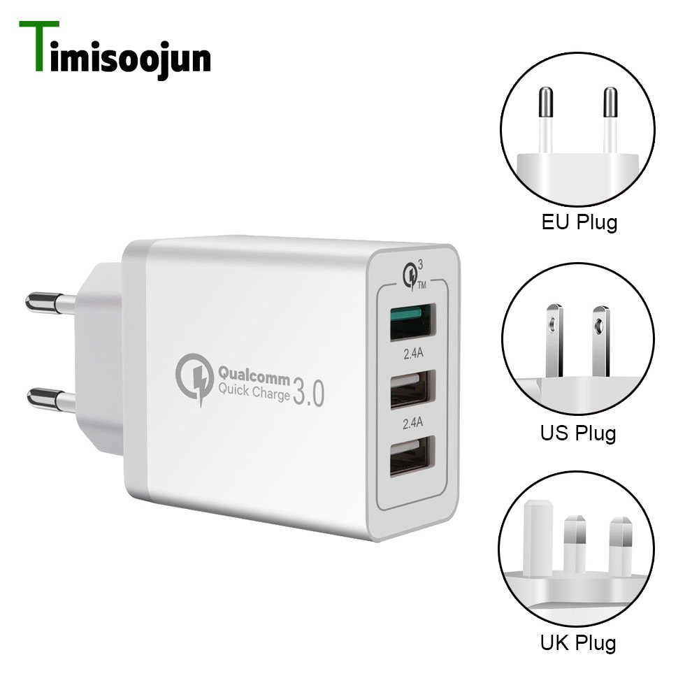 Timisoojun Mobile Phone Charger 3 Port QC3.0 Quick USB Charger Universal Travel fast Adapter For Samsung XIAOMI iPhone Huawei LG