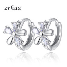 ZRHUA Fashion Elegant Crystal Flower Hoop Earrings for Women Wedding Simple Luxury Silver 925 Jewelry Female Christmas Gifts(China)