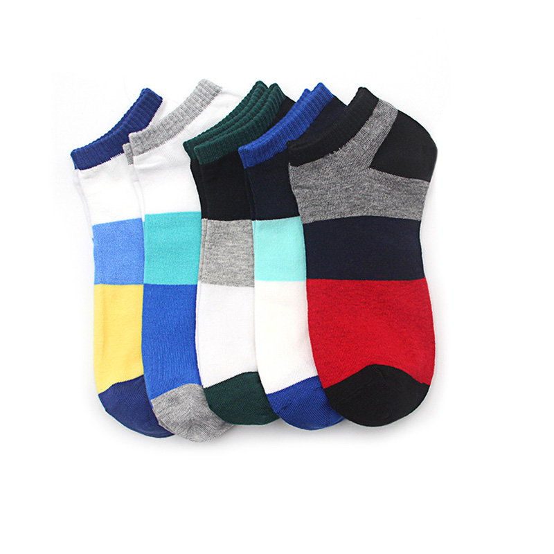 1pair Dress Socks Men Striped Cotton Low Cut Ankle Socks Casual Colorful Short Invisible Socks For Male Patchwork Short Sock