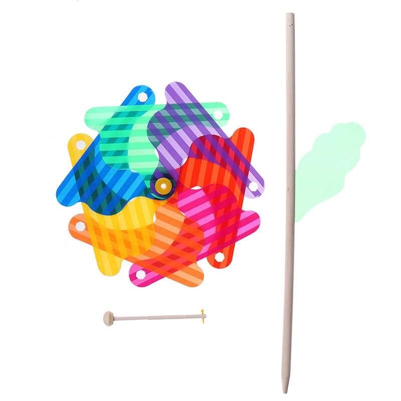 Kualitas Tinggi 1 PC Indah 24 Cm Kayu Taman Halaman Pesta Kincir Angin Pemintal Ornamen Dekorasi Mainan Anak