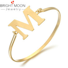 Bright Moon Trendy Cuff Letter Bracelets Bangles for Woman Gold Color Stainless Steel Bracelet with Word A Jewelry Women