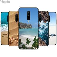 Clear Sea Sky Sandy beach Black Case for Oneplus 7 7 Pro 6 6T 5T Silicone Phone Case for Oneplus 7 7Pro Soft TPU Cover Shell