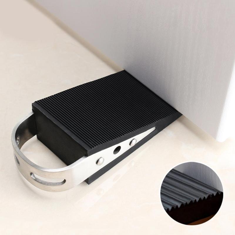 1pcs Door Wedge Shaped Plastic Door Stops Non-Slip Black Door Buffers for Office Home Baby Safe Floor Door Stopper