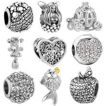7cb1d7dba Free Shipping 1pc Europe Silver Mermaid Princess Pumpkin Car charms Beads  fit original pandora charm bracelet