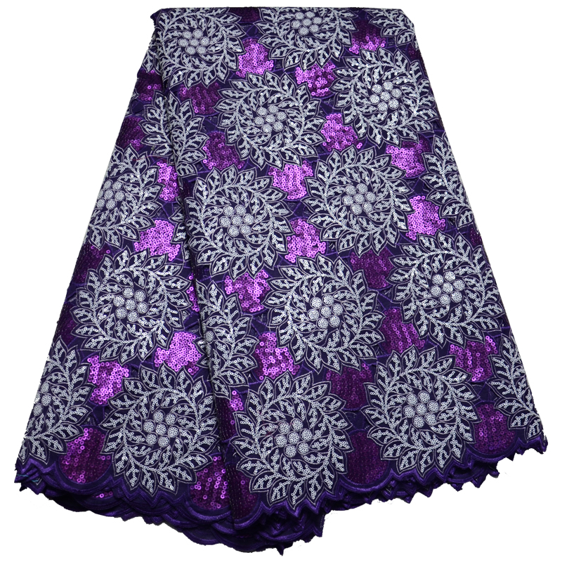 Latest High quality African lace fabric for wedding 2019 Polyester Purple Sequins Organza African French lace