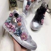 Xemonale 2017 flor hecha a mano 3D cordón alpargatas zapatos de lona mujer diseñador de la marca de cinta decoración de la perla