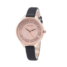 Irisshine #06 high quality Women watches lady girl Retro Diamond Radiance Design Leather Band Analog Alloy Quartz Wrist Watch