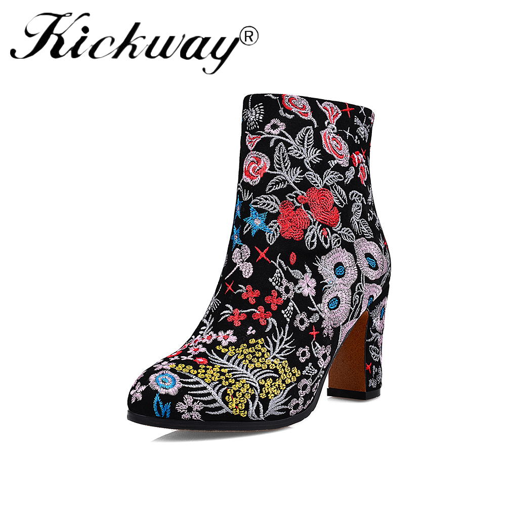 Kickway Hot Ethnic Boots Women Customs Women Handmade Floral Embroidered Boots Outdoor leisure Shoes Women botas femininas 34-43 hot sale ethnic floral pattern pashmina for women