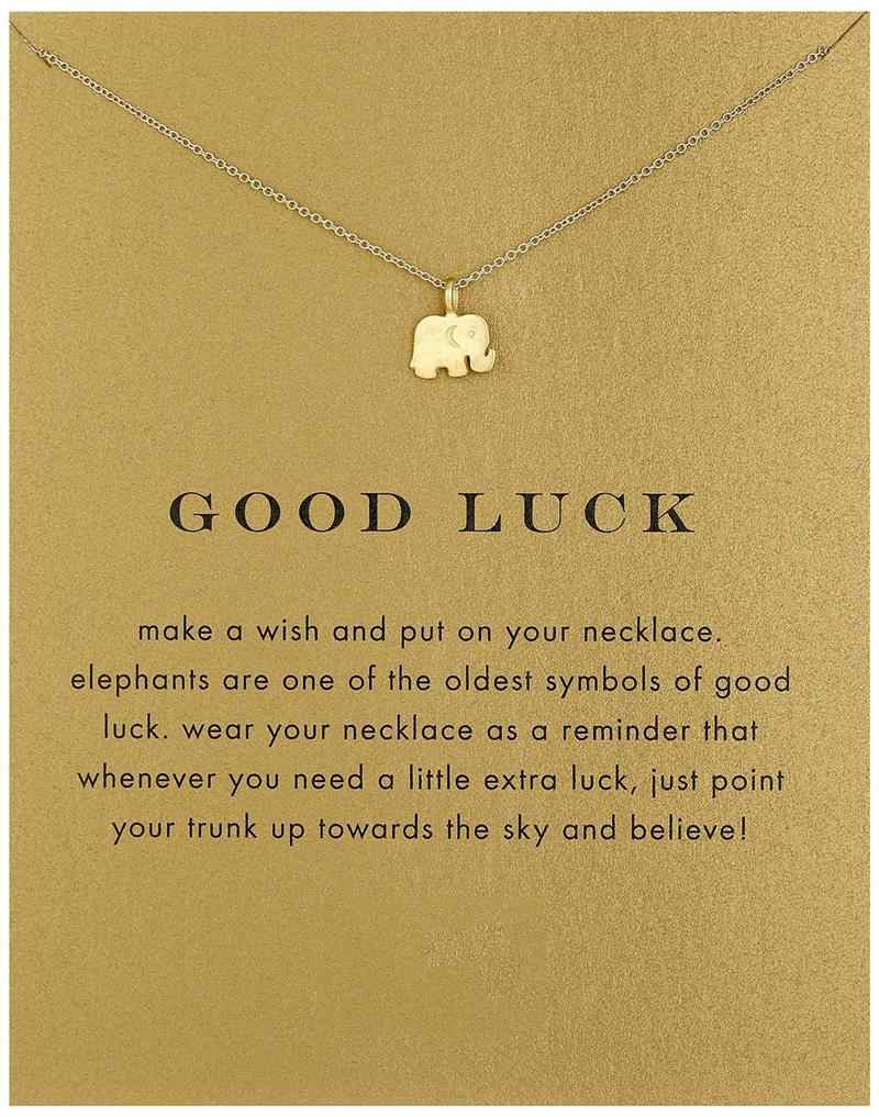 Collares Vintage Elephant Necklace Women Animal Pendant Clavicle Chain Good Luck Choker Necklaces Valentine's Day Gift Card