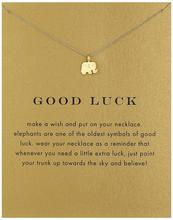 Collares Vintage Elephant Necklace Women Animal Pendant Clavicle Chain Good Luck Choker Necklaces Valentines Day Gift Card